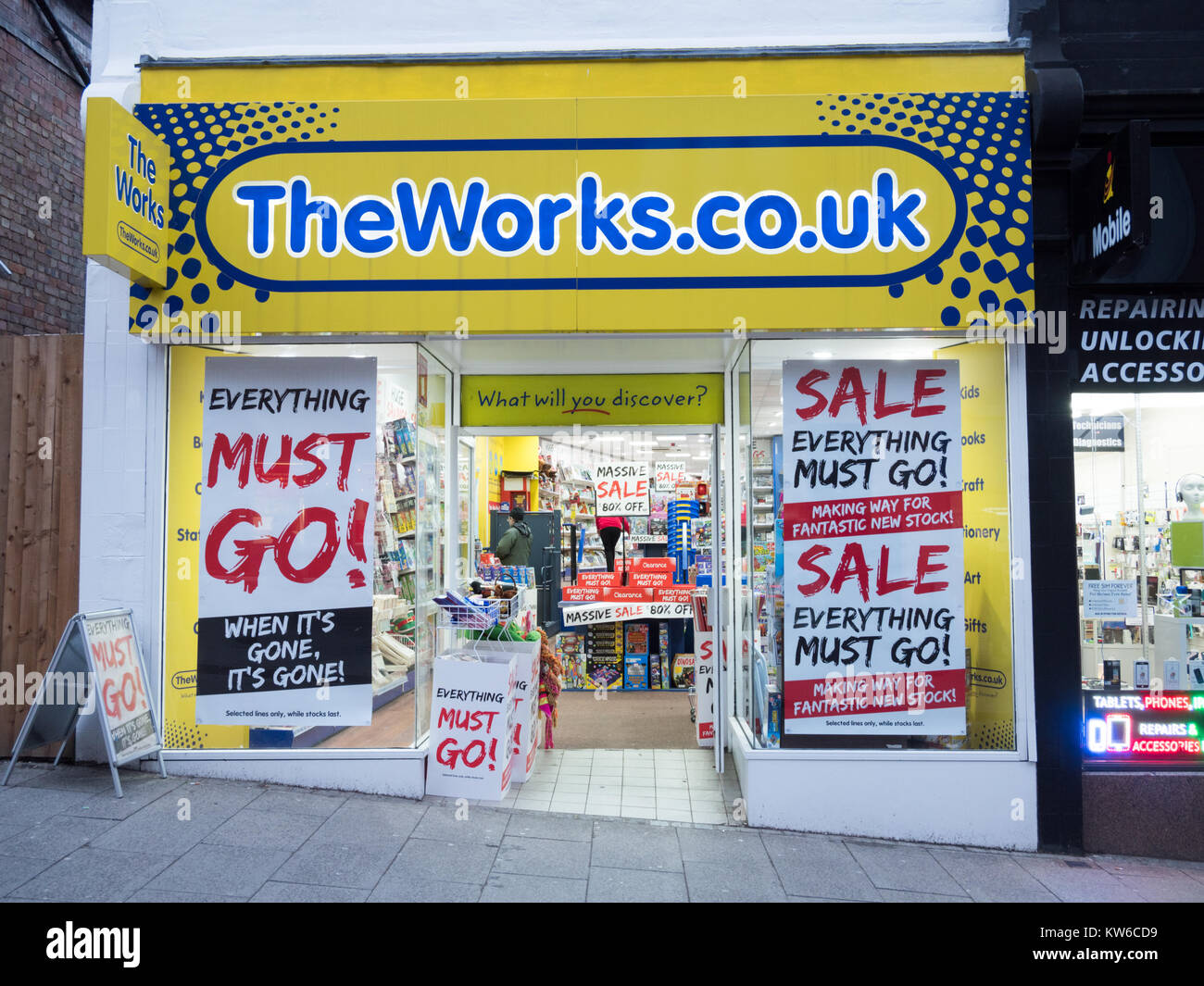 The Works stationery and discount shop in Bishop's Stortford Hertfordshire UK with winter sale signs in the shiop Stock Photo