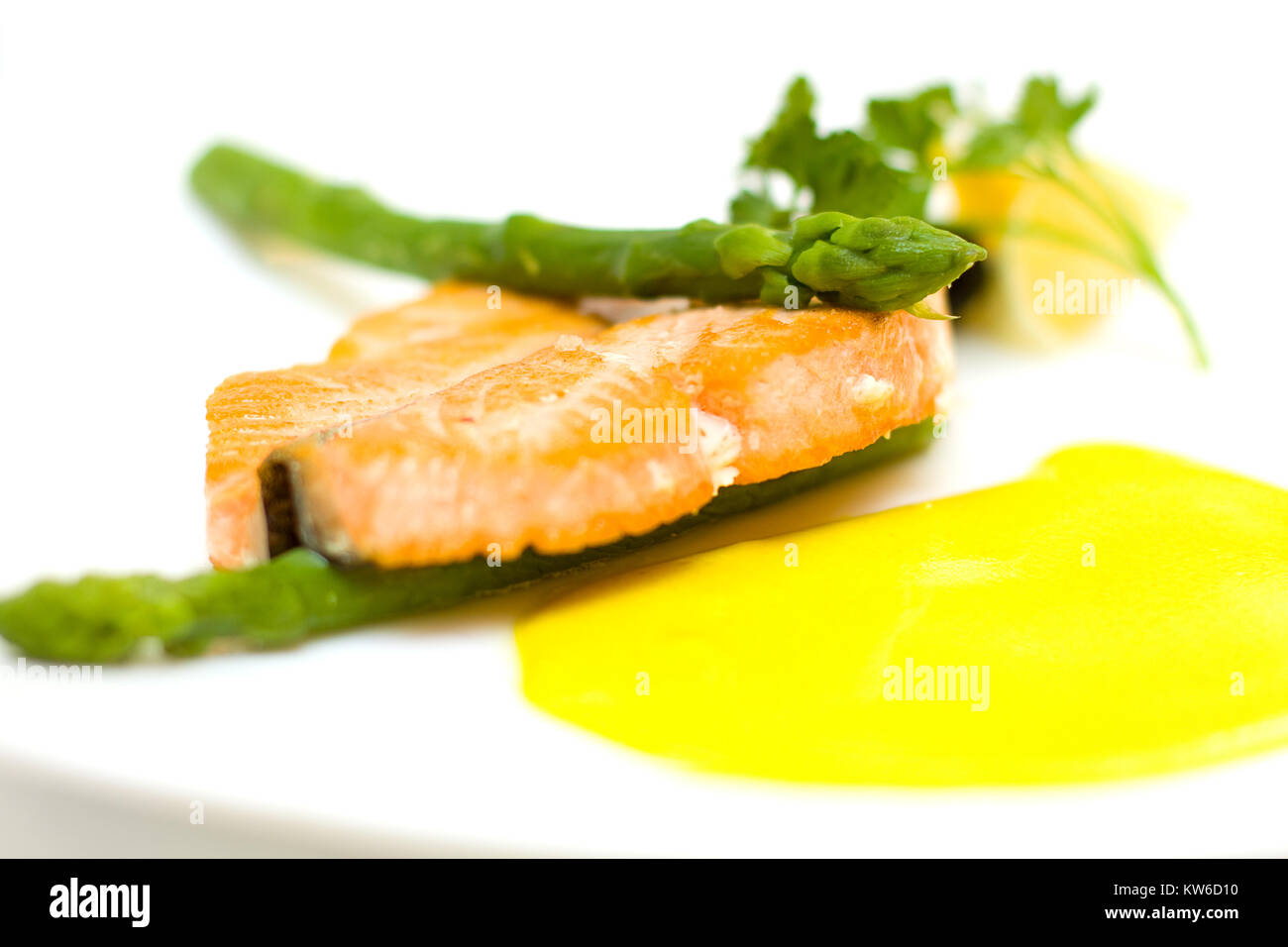 Salmon and aspargus shot with lemon, dill garnish with shalow depth of field - Stock Image