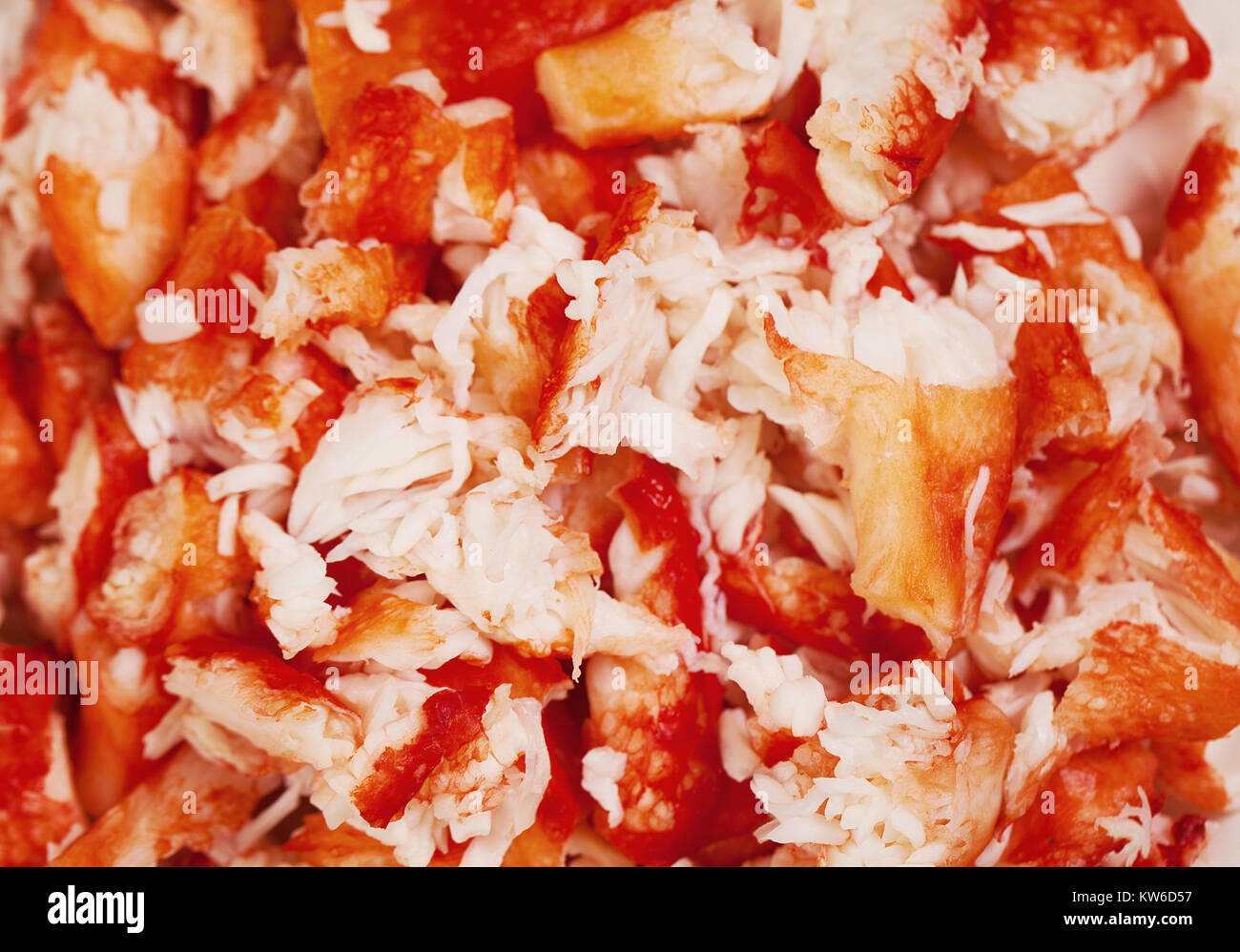 Lobster and Crab Meat Closeup Background. Gourmet Food - Stock Image