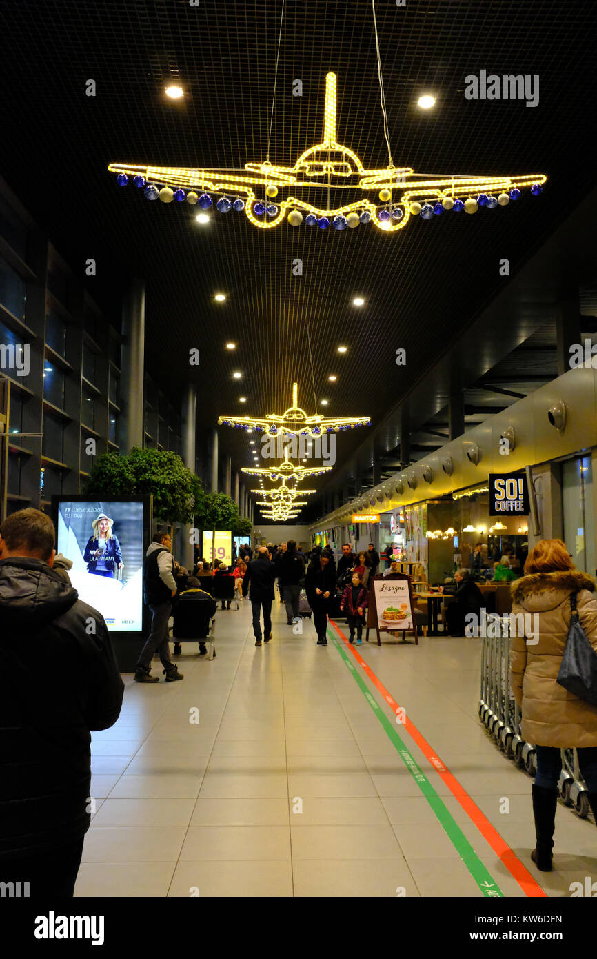 Christmas Lights Katowice Airport Stock Photo