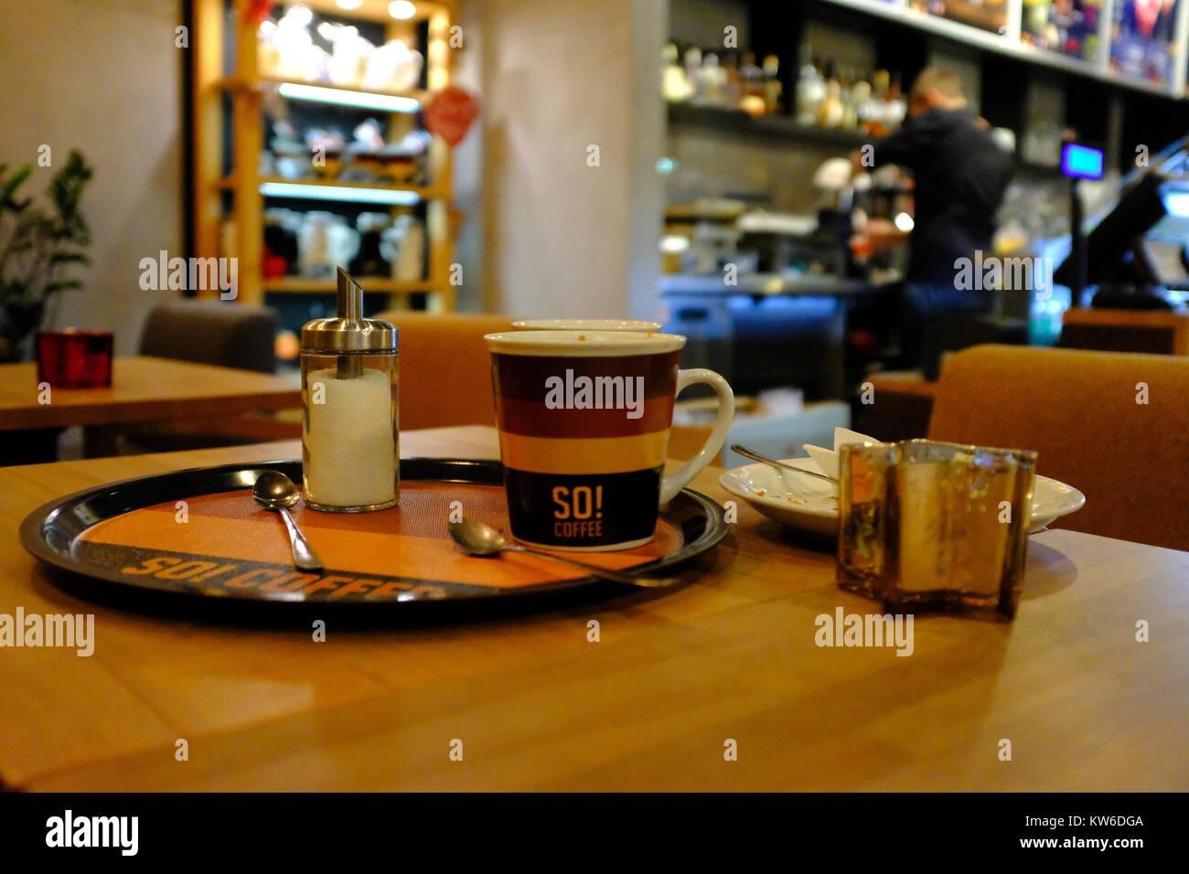 Cafe at Katowice Airport Stock Photo