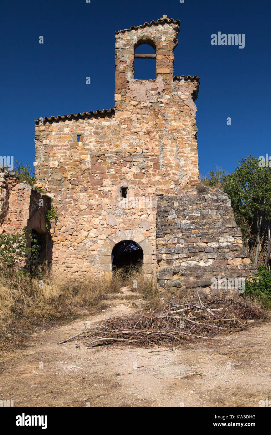 Ruins of the Church of Saint Mary in Finestres, Huesca province, Aragon, Spain. - Stock Image