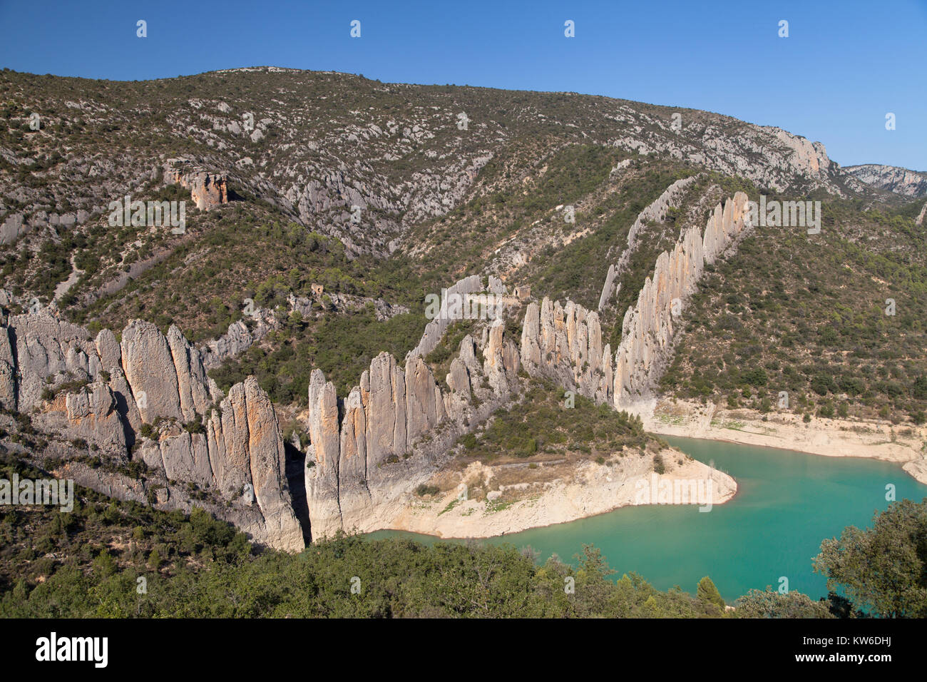 Chinese Wall of Finestres, Huesca province, Aragon, Spain. - Stock Image