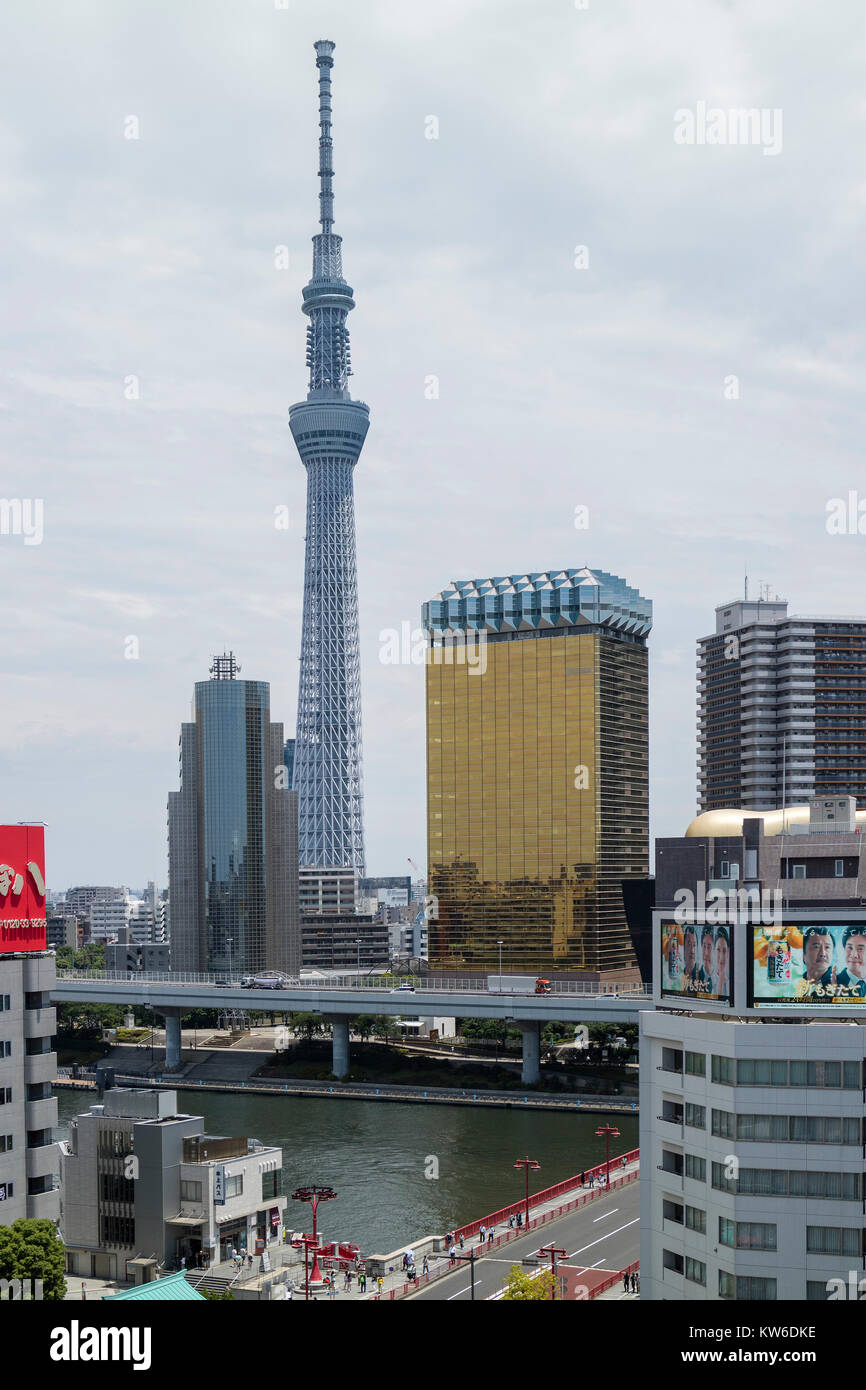 Tokyo -  Japan, June 19, 2017: Skyline with theTokyo Sky Tree and the Asahi beer tower at the east bank of the Sumida - Stock Image