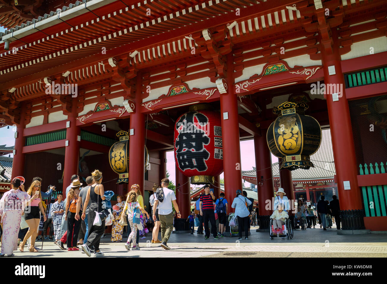 Tokyo - Japan, June 17, 2017; Tourists at Edo era Hozomon entrance of Sensoji, also known as Asakusa Kannon Temple, - Stock Image