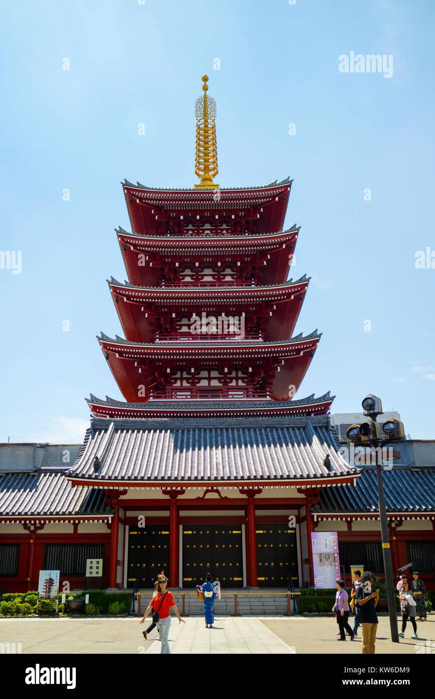 Tokyo - Japan, June 19, 2017; The five-story pagoda at the the Senso-ji temple in Asakusa - Stock Image