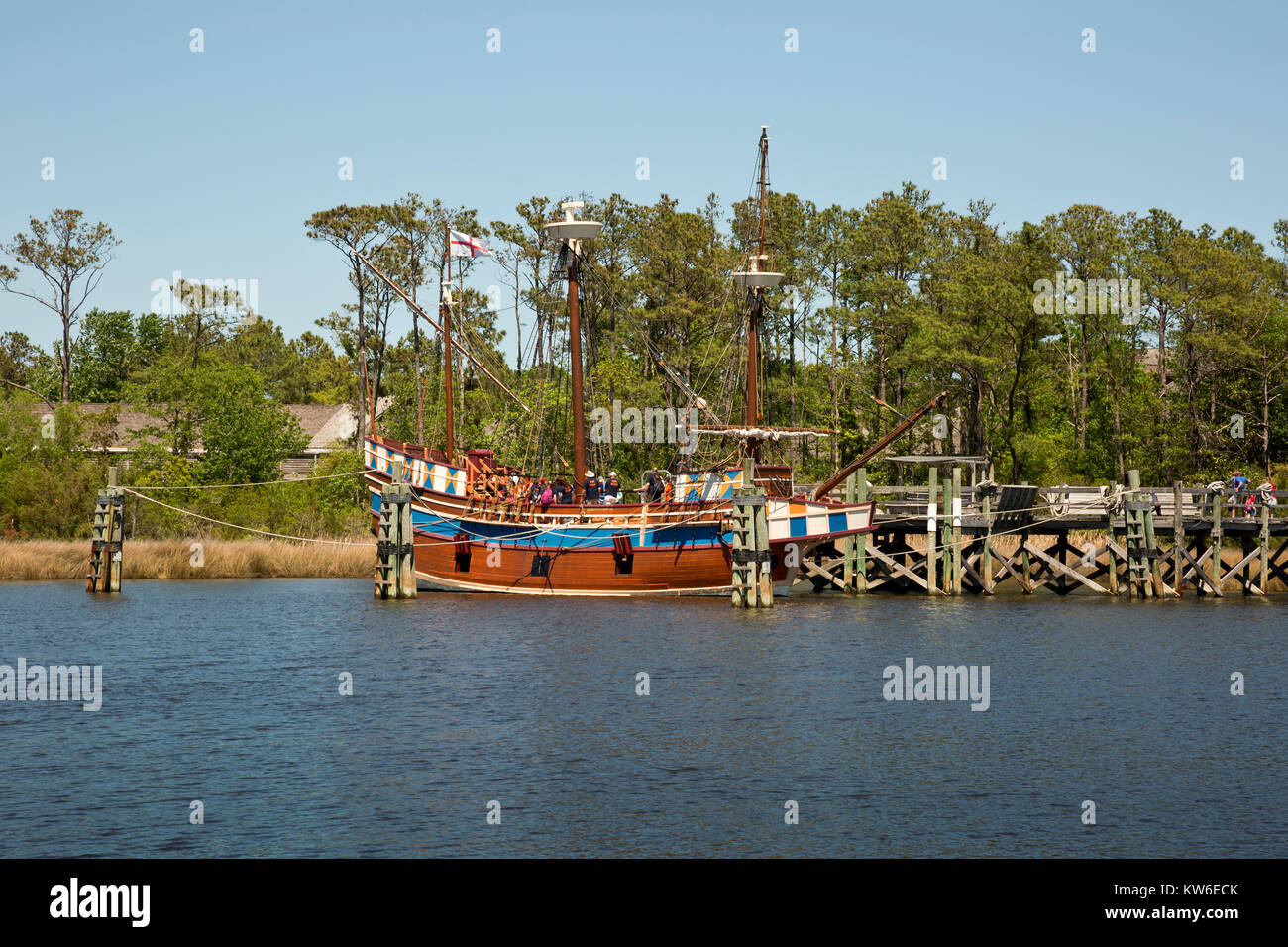 NC01195-00...NORTH CAROLINA - Visitors learning about the historic replica of the 16th Century Elizabeth ll, at - Stock Image