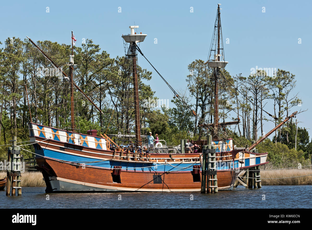 NC01196-00...NORTH CAROLINA - Visitors learning about the historic replica of the 16th Century Elizabeth ll, part - Stock Image