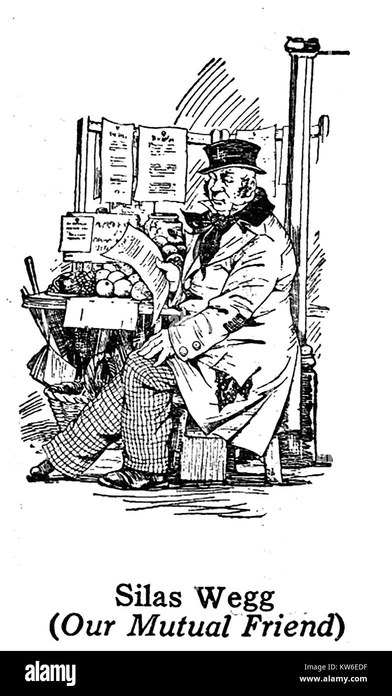 Charles Dickens 1812 to 1870 -Dickens characters -1930's illustration - Silas Wegg from 'Our Mutual Friend' - Stock Image