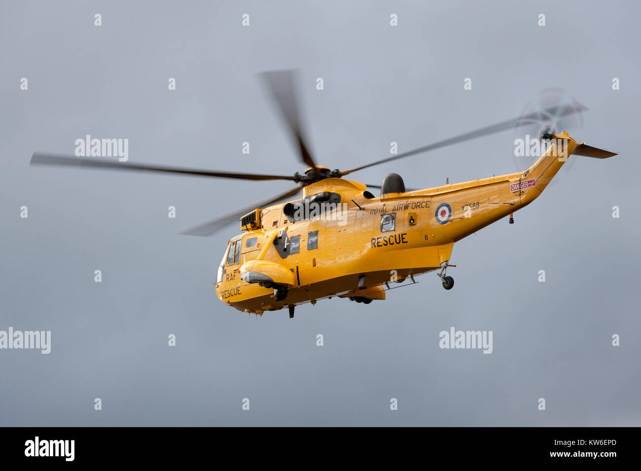 RAF Rescue Helicopter XZ588 in flight. - Stock Image