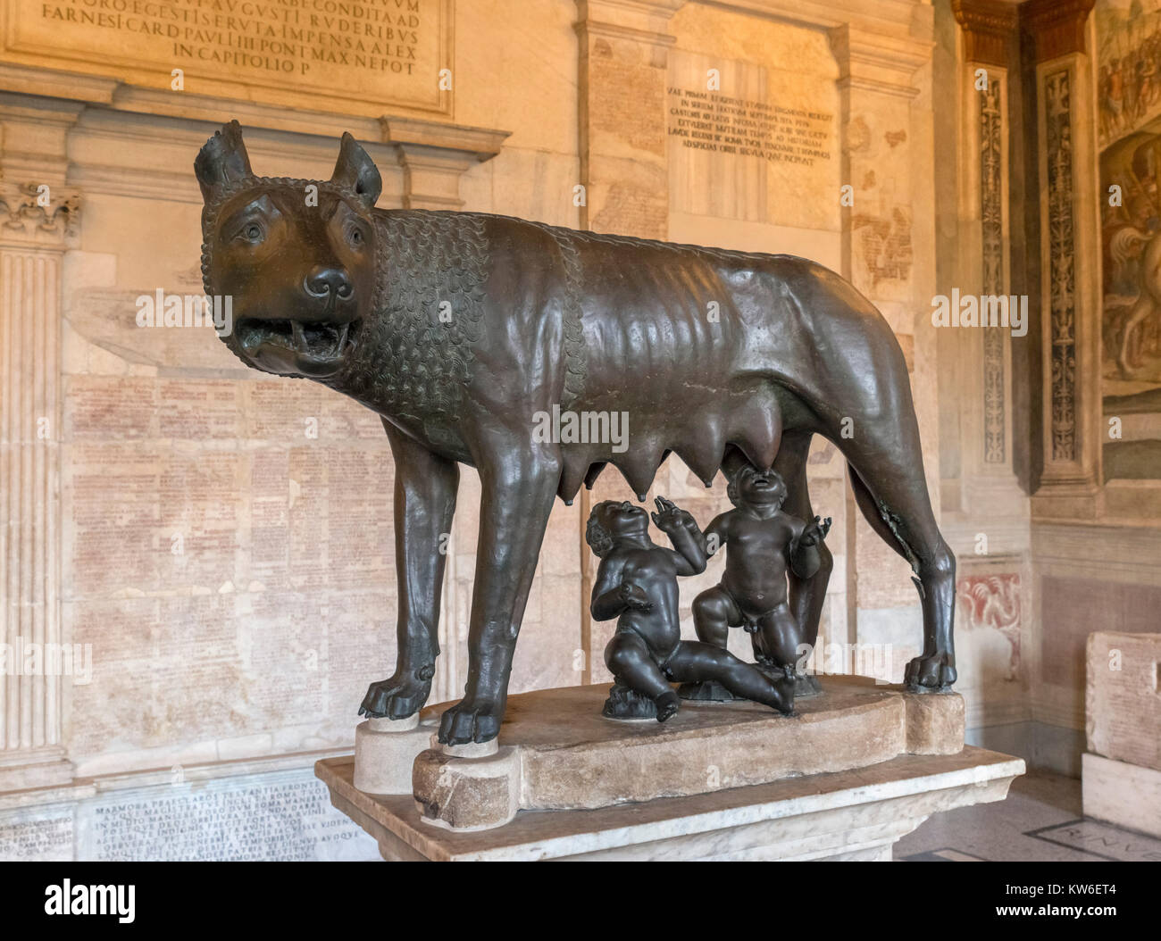 The Capitoline She-Wolf, a bronze statue depicting a wolf suckling Romulus and Remus, Hall of the She Wolf, Conservators - Stock Image