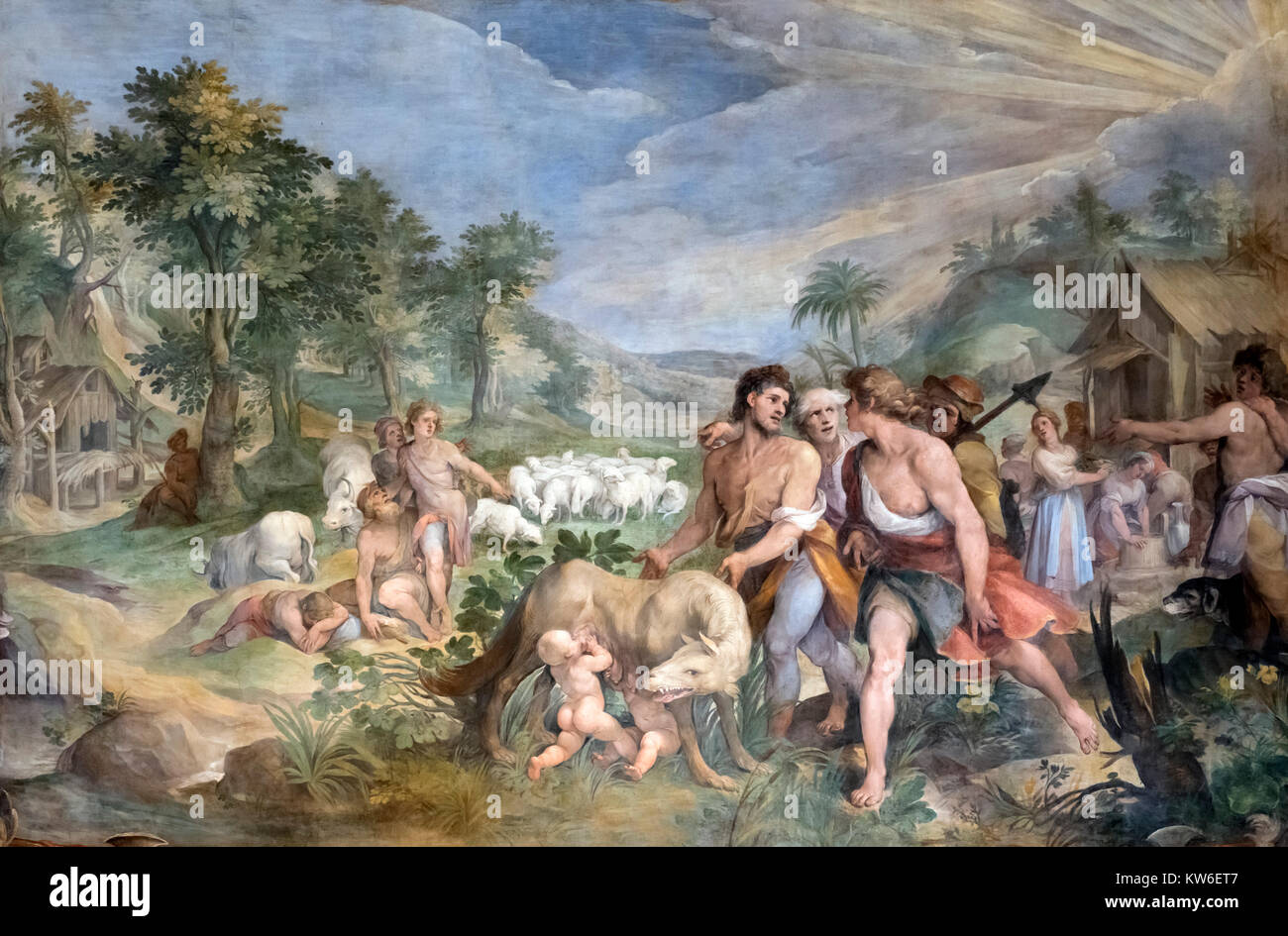 Finding of the She-Wolf by Cavalier d'Arpino (Giuseppe Cesari: 1568-1640), a 1596 fresco in the Hall of the - Stock Image