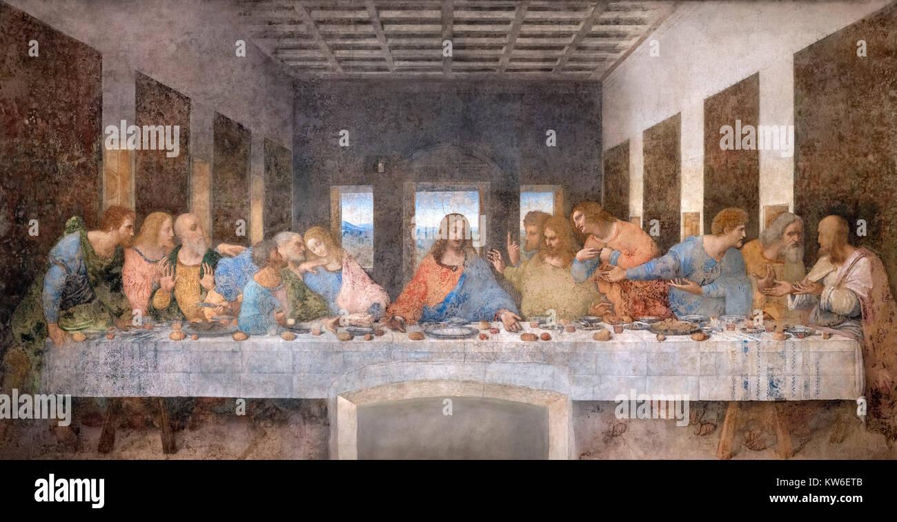 Da Vinci, Last Supper. The Last Supper by Leonardo da Vinci (1452-1519) c.1494-98, a fresco in the refectory of - Stock Image