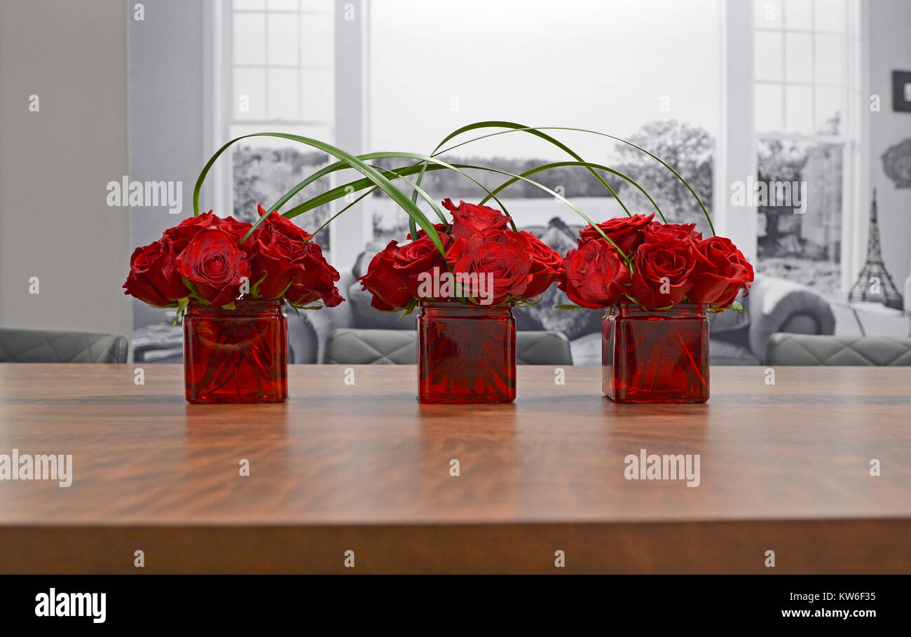 Three vases filled with red roses and joined by grasses against a black and white background. Modern home decor. - Stock Image