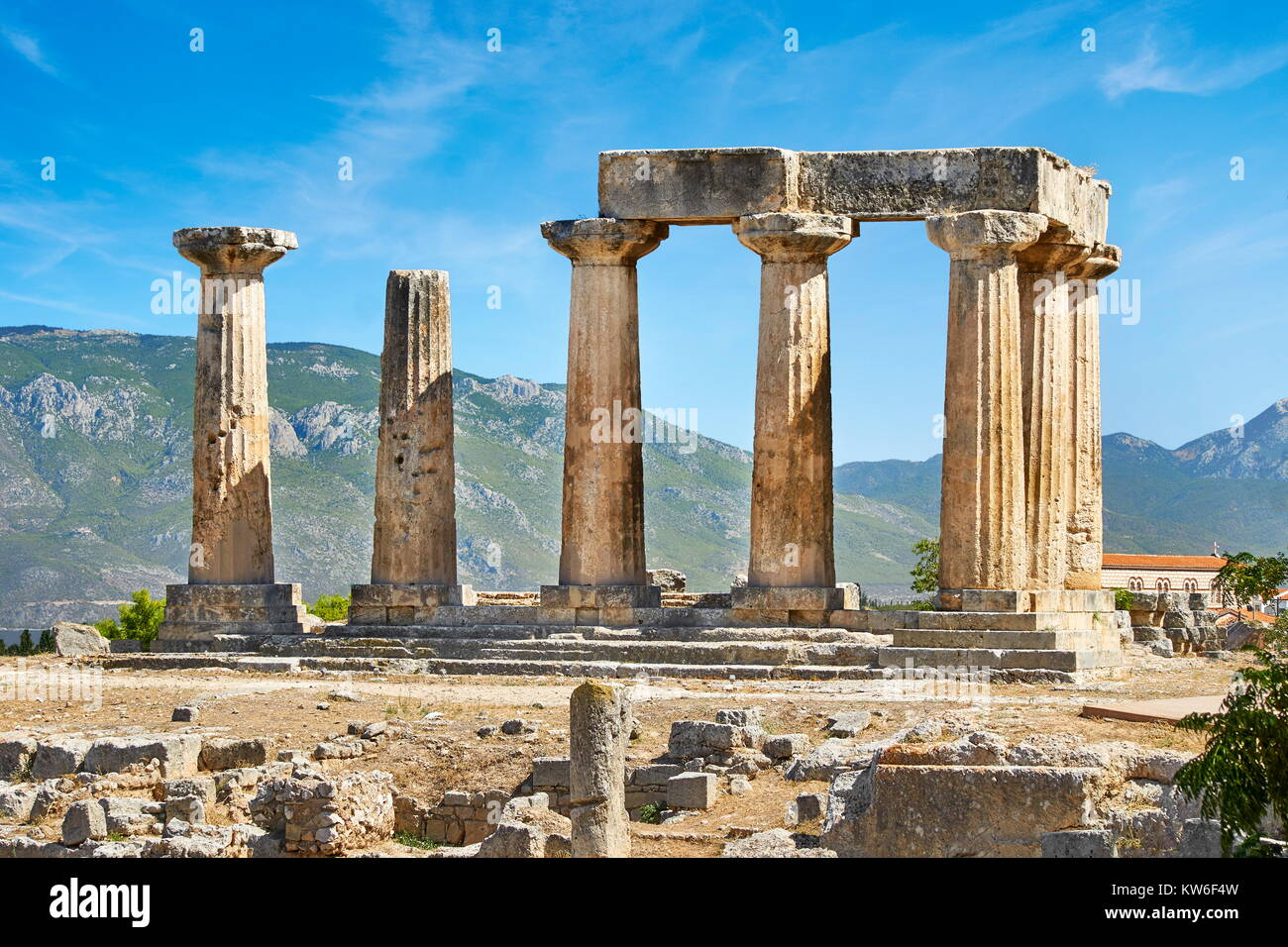 The Temple of Apollo, ancient Corinth, Greece - Stock Image