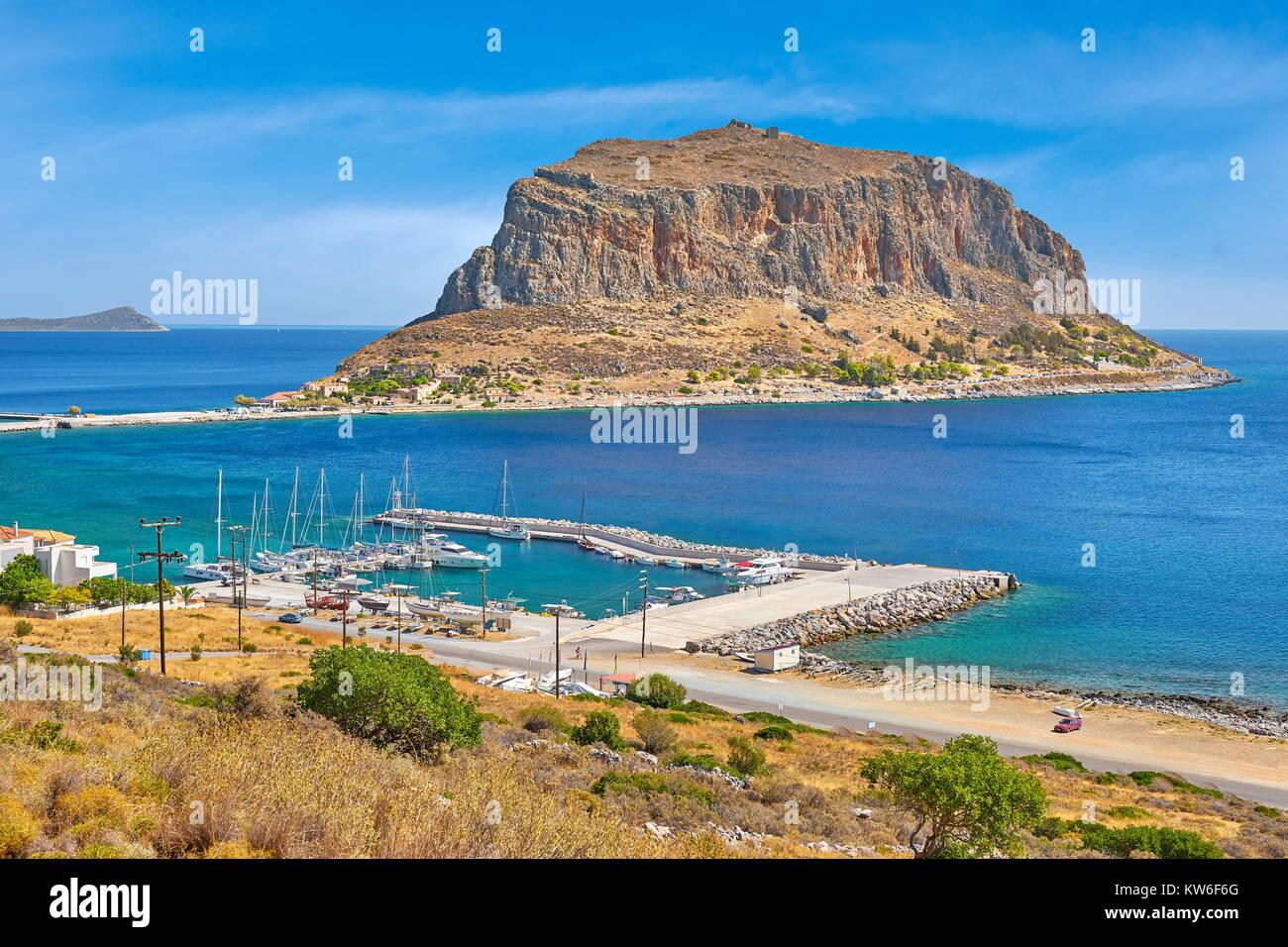 View on Monemvasia, Peloponnese, Greece Stock Photo