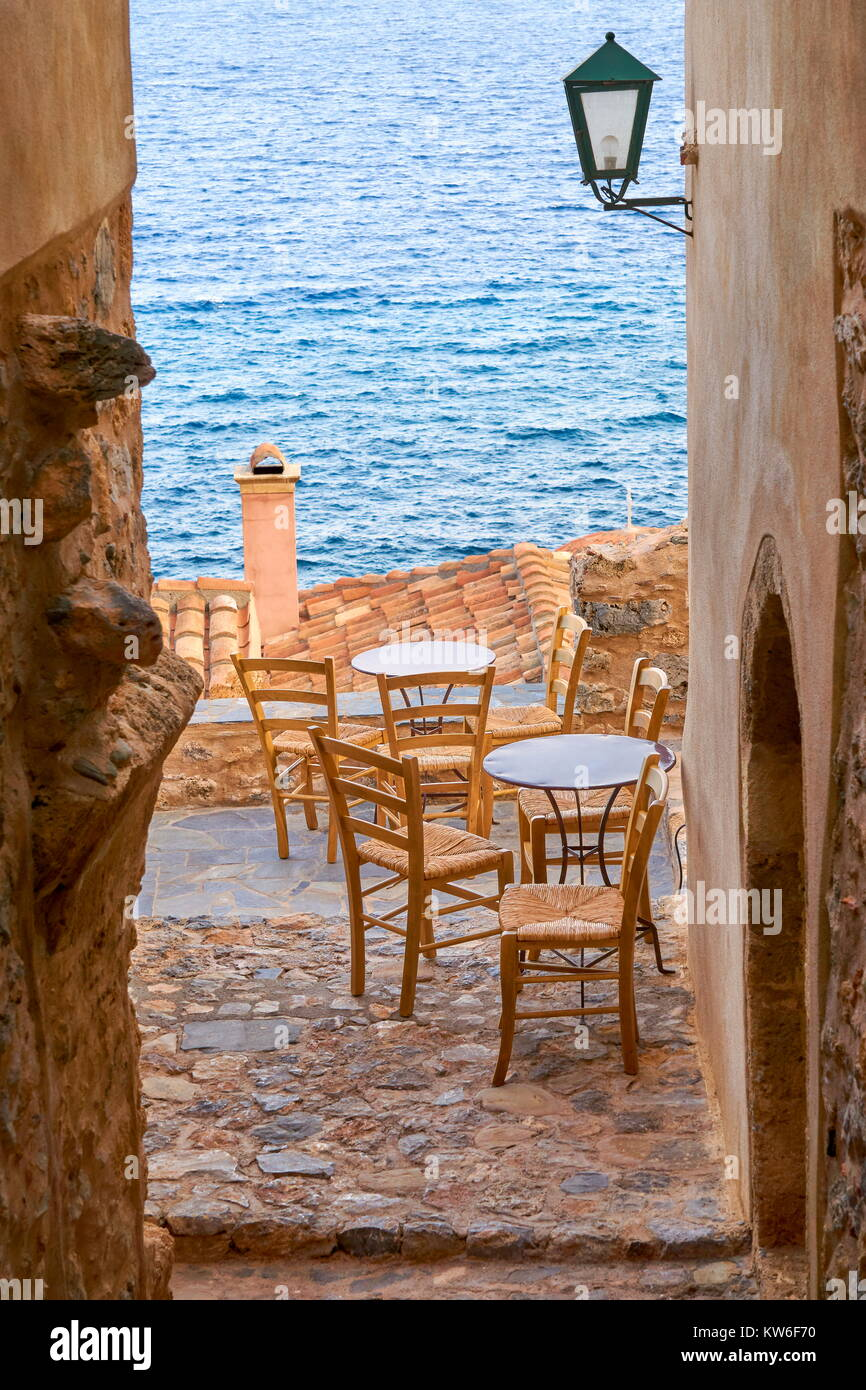 Romantic street in Monemvasia medieval town, Peloponnese, Greece - Stock Image