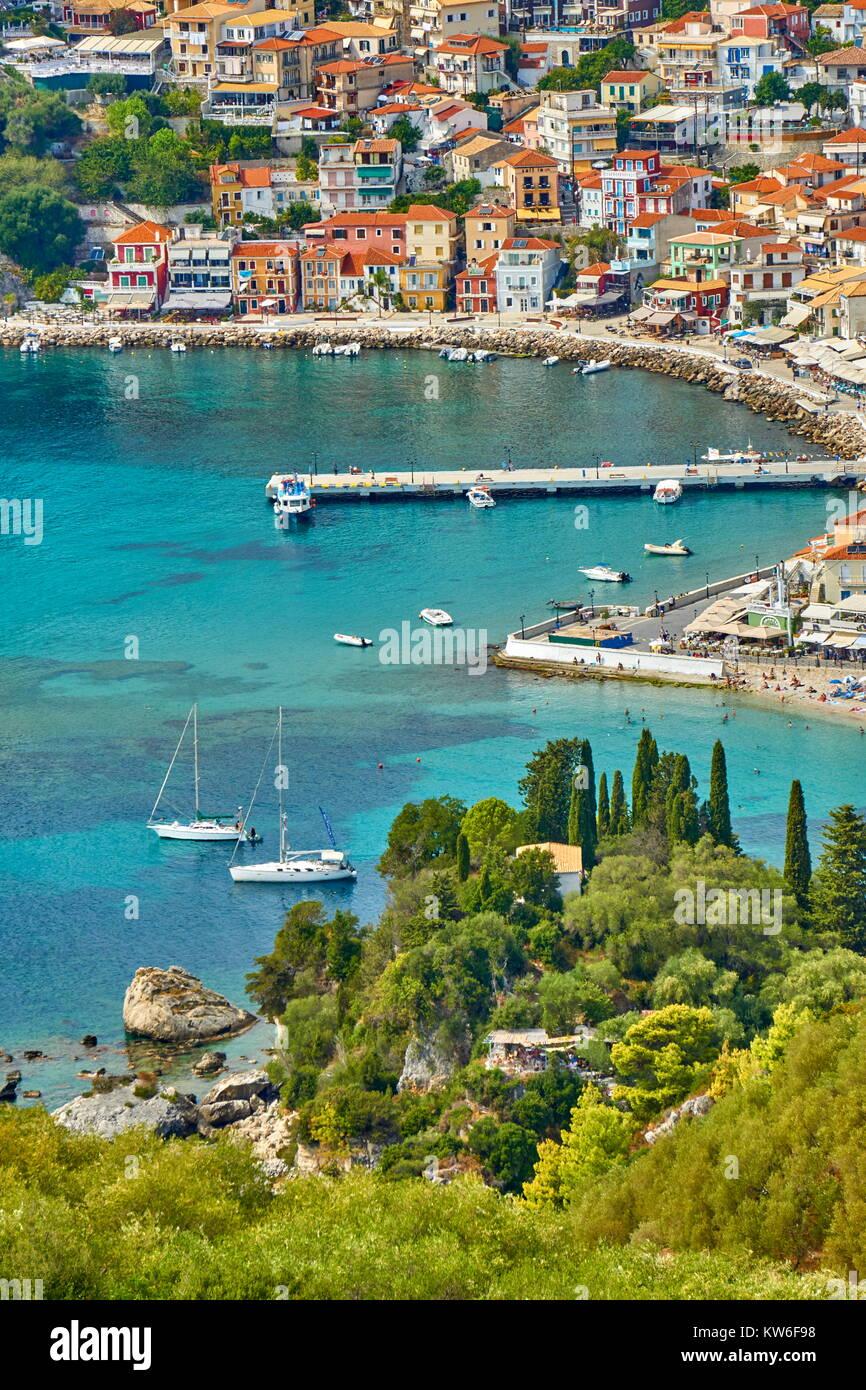 Aerial view at Parga resort and bay, Greece - Stock Image