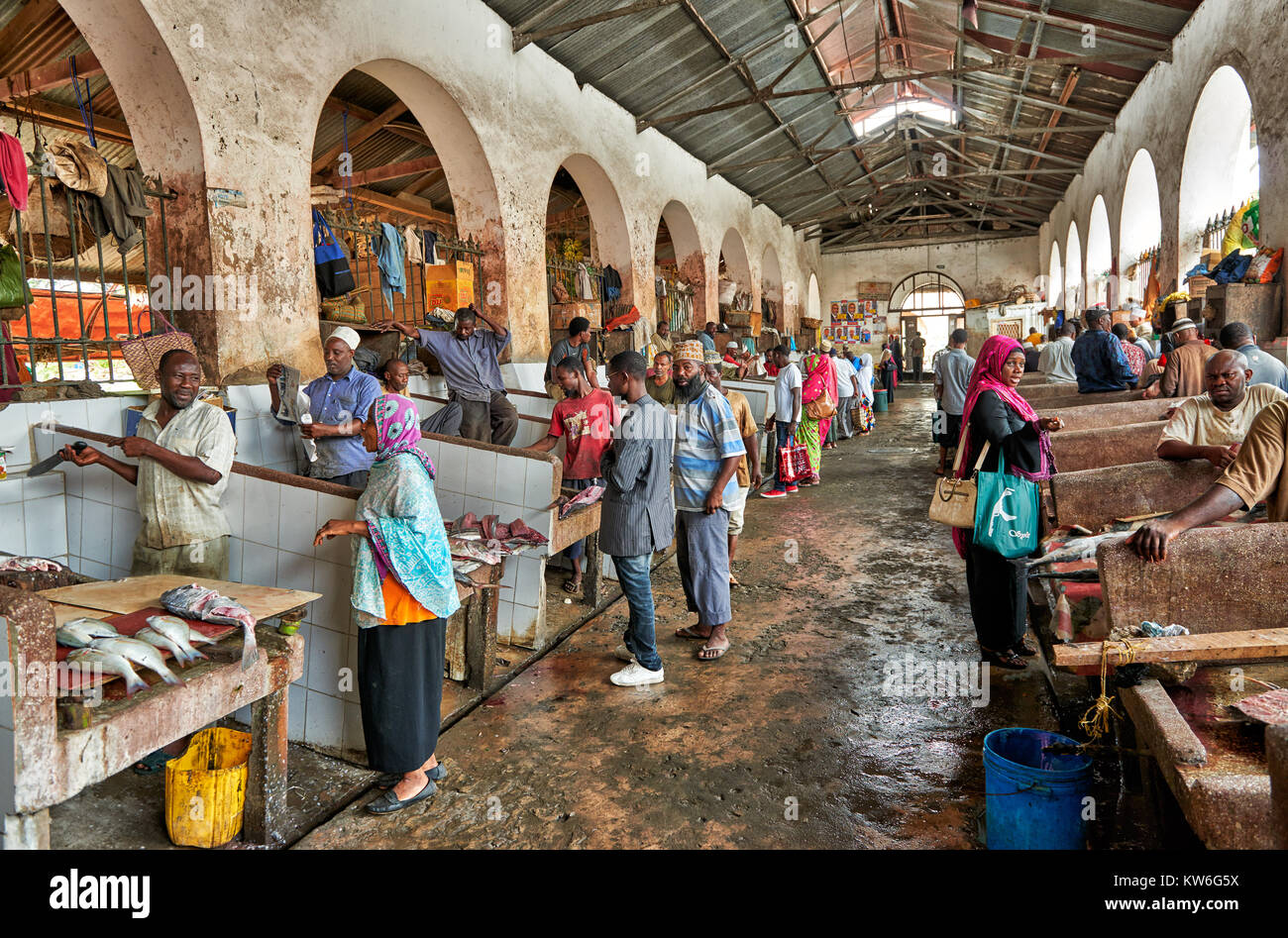 fish department on local food market in Stone Town,UNESCO World Heritage Site, Zanzibar, Tanzania, Africa - Stock Image