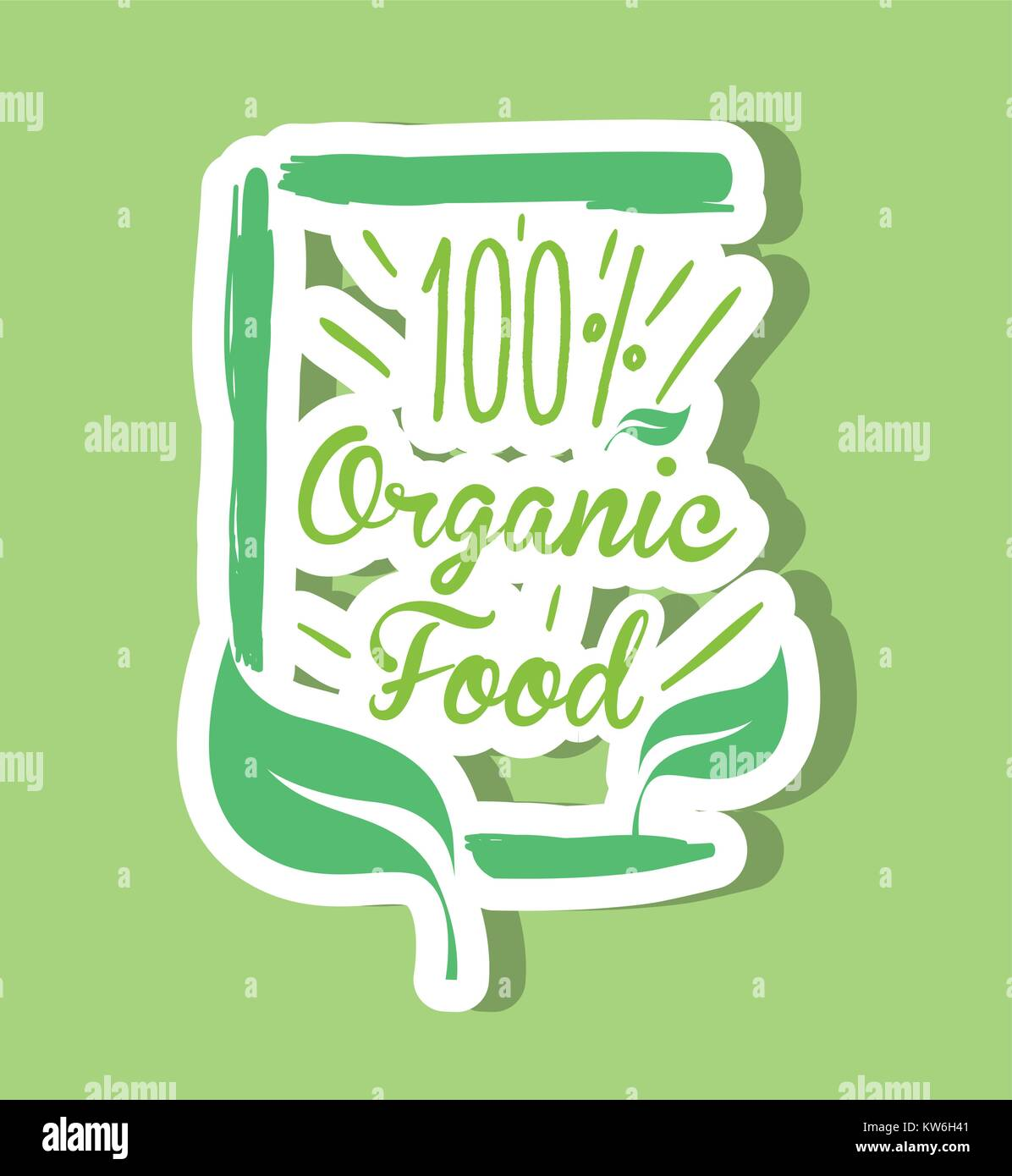one hundred percent organic food message vector illustration - Stock Vector