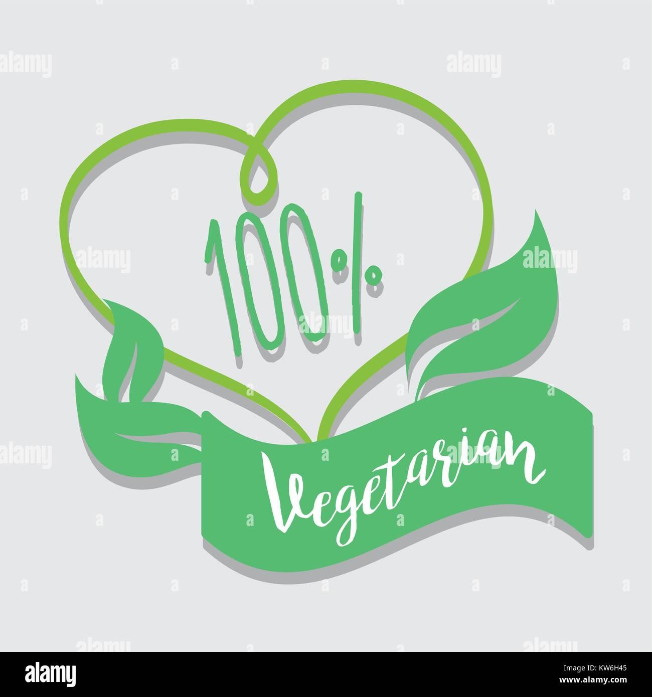 one hundred percent vegetarian food vector illustration - Stock Vector