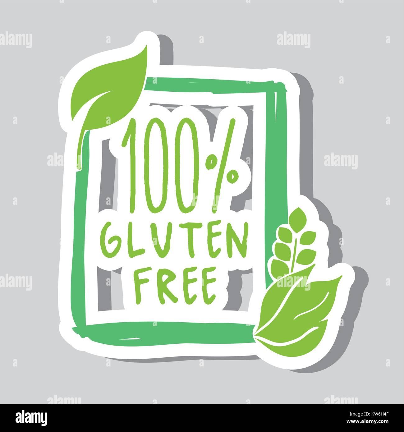 one hundred percent gluten free food vector illustration - Stock Vector
