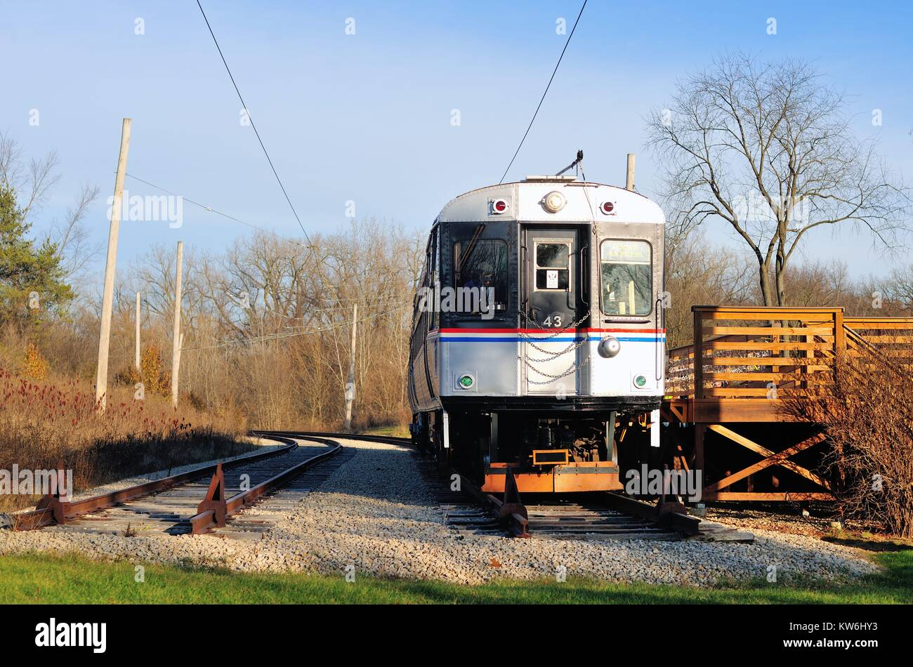 Car 43 at the end of track at the Fox River Trolley Museum in South Elgin, Illinois, USA. Stock Photo