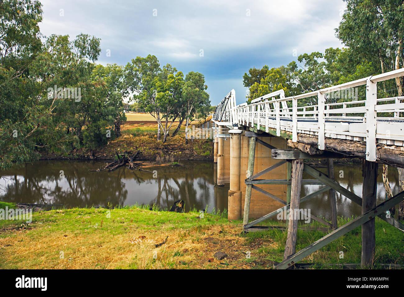 Rawsonville Bridge over the Macquarie River near Dubbo Australia Stock Photo