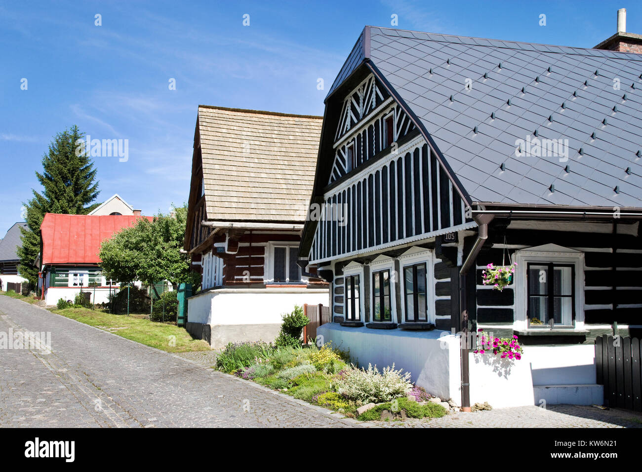 CZECH REPUBLIC, JILEMNICE - APR 19, 2010: traditional architecture from 1788  in Curious street (Zvedava ulicka), - Stock Image
