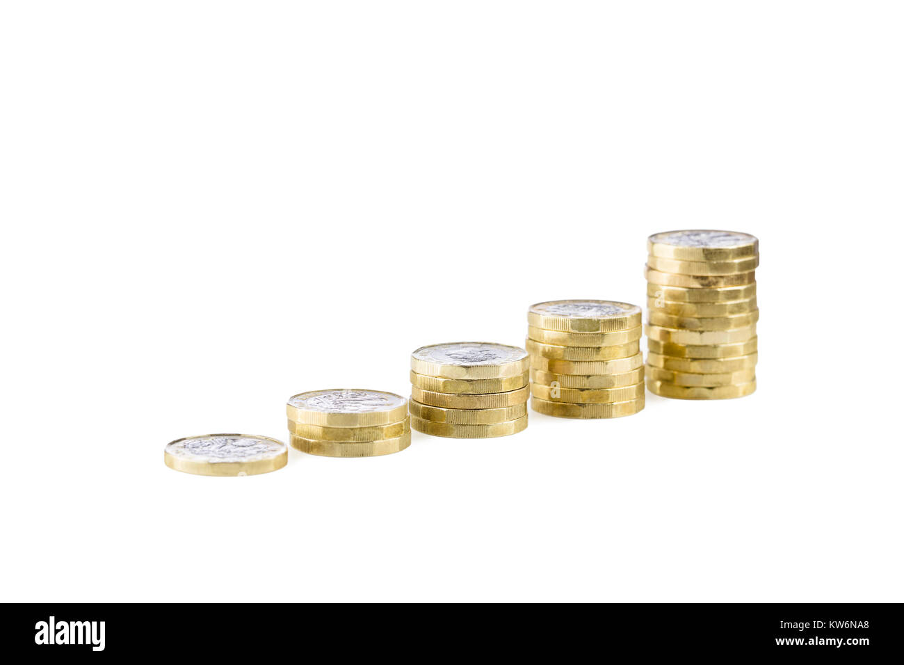 Piles of uk sterling pound coins - Stock Image