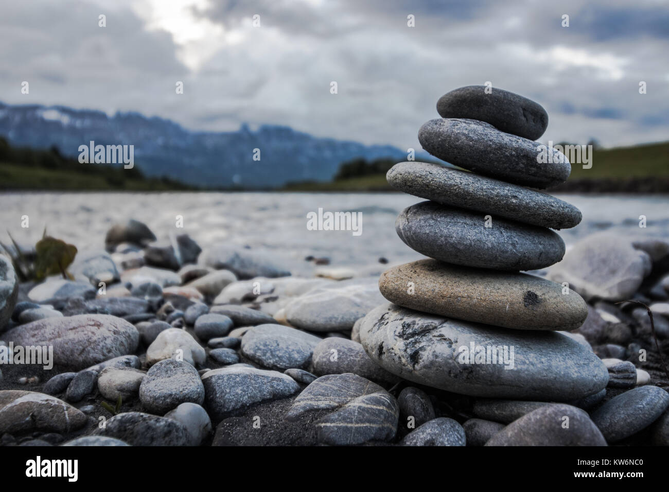 Rock tower, Rhine Valley - Stock Image