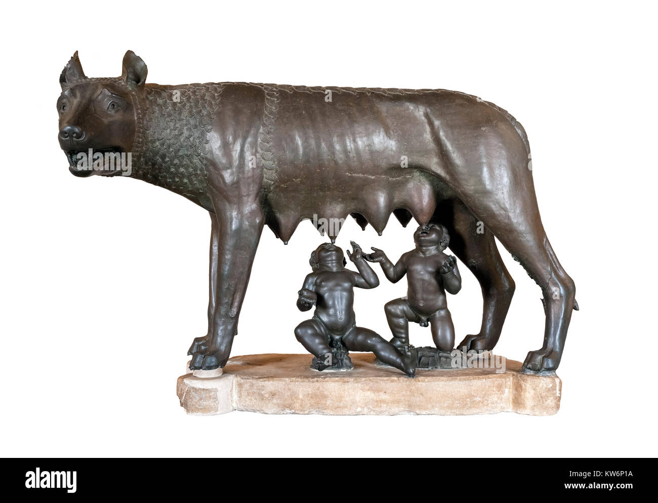 The Capitoline She-Wolf, a bronze statue depicting a wolf suckling Romulus and Remus, Capitoline Museums, Rome, - Stock Image