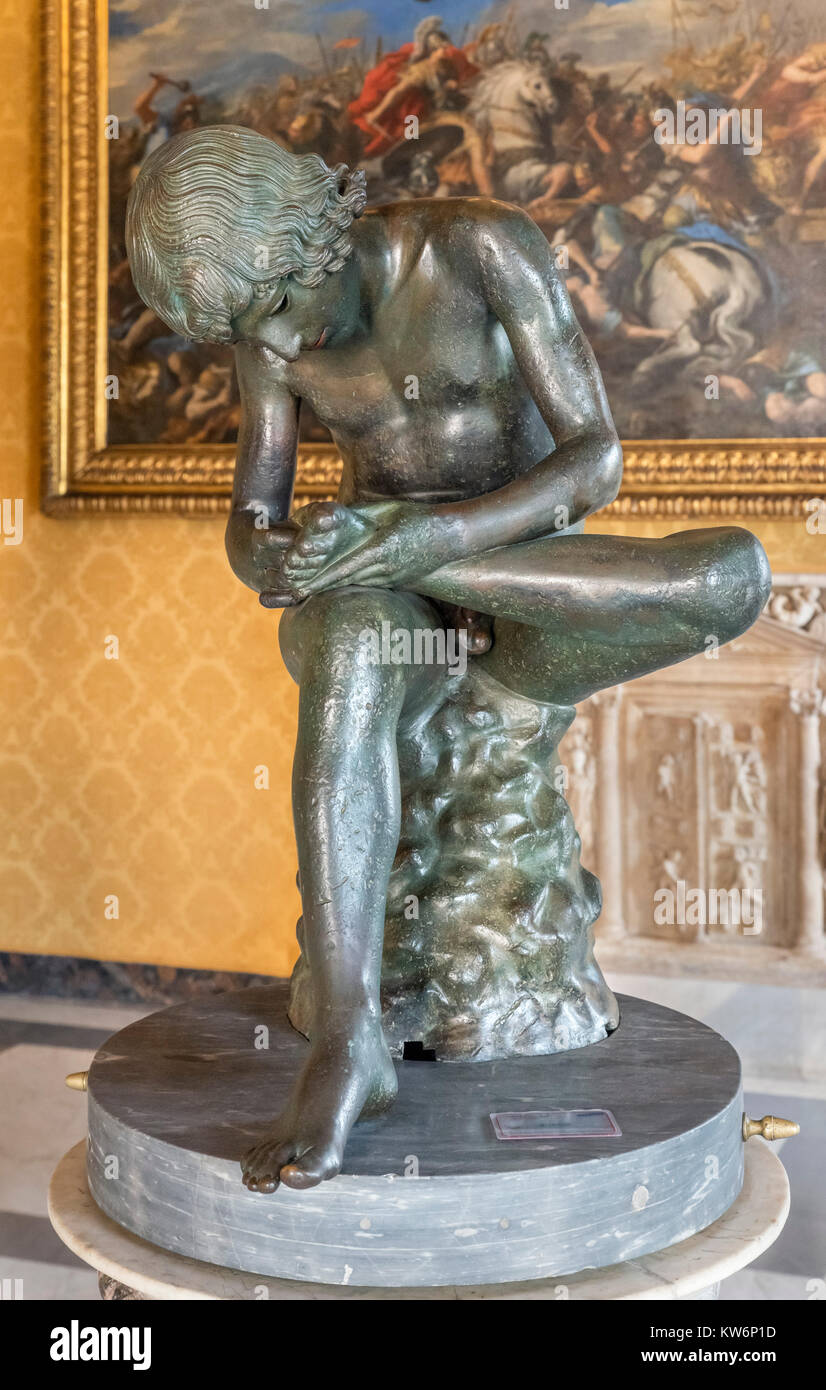 Boy with Thorn (Spinario), a 1st century BC Greco-Roman bronze sculpture, Palazzo dei Conservatori, Capitaline Museums, - Stock Image