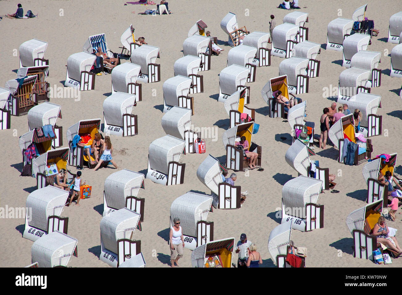 Beach chairs at the beach close the pier of Sellin, Ruegen island, Mecklenburg-Western Pomerania, Baltic Sea, Germany, - Stock Image