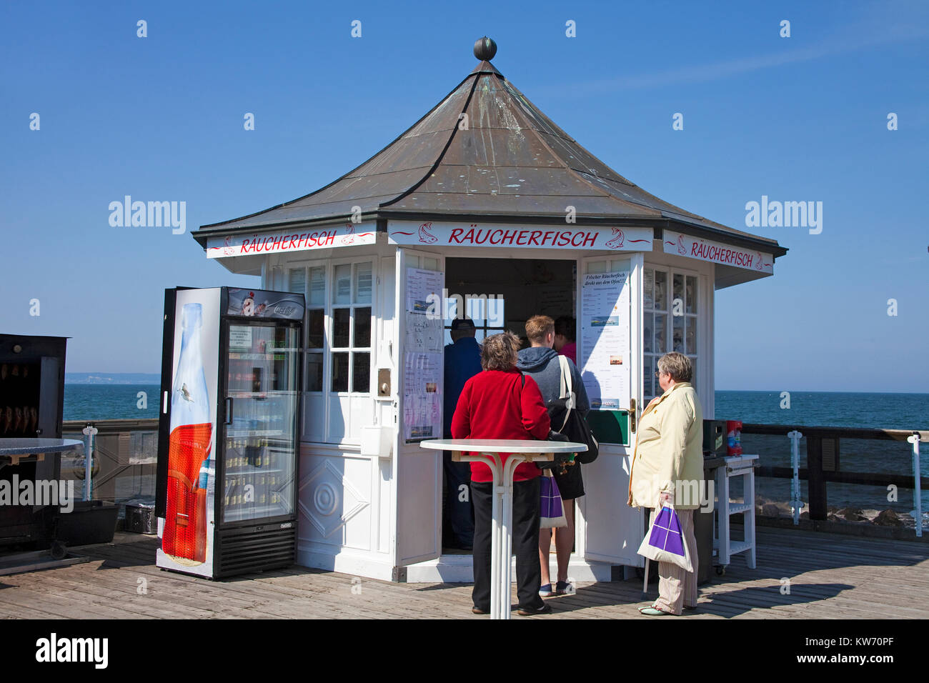 Kiosk, fish snacks on the Pier of Sellin, Ruegen island, Mecklenburg-Western Pomerania, Baltic Sea, Germany, Europe Stock Photo