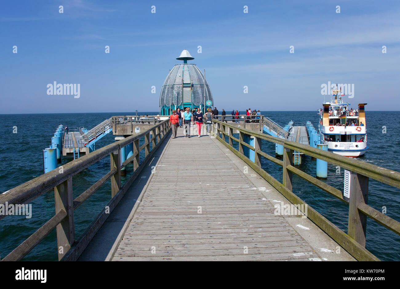 Dive bell at the end of the pier, Sellin, Ruegen island, Mecklenburg-Western Pomerania, Baltic Sea, Germany, Europe Stock Photo