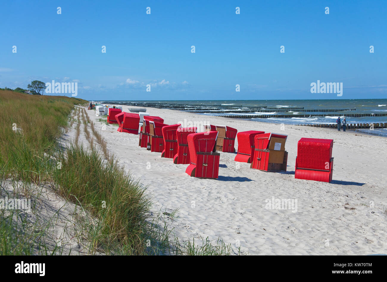Beach chairs at the beach of Ahrenshoop, Baltic Sea, Fishland, Mecklenburg-Western Pomerania, Germany, Europe - Stock Image