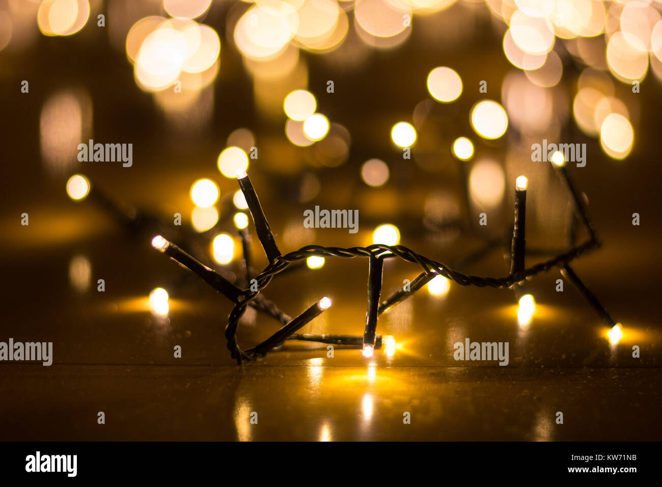 Fairy Lights For The Christmas Tree With Blurry Background Close Up