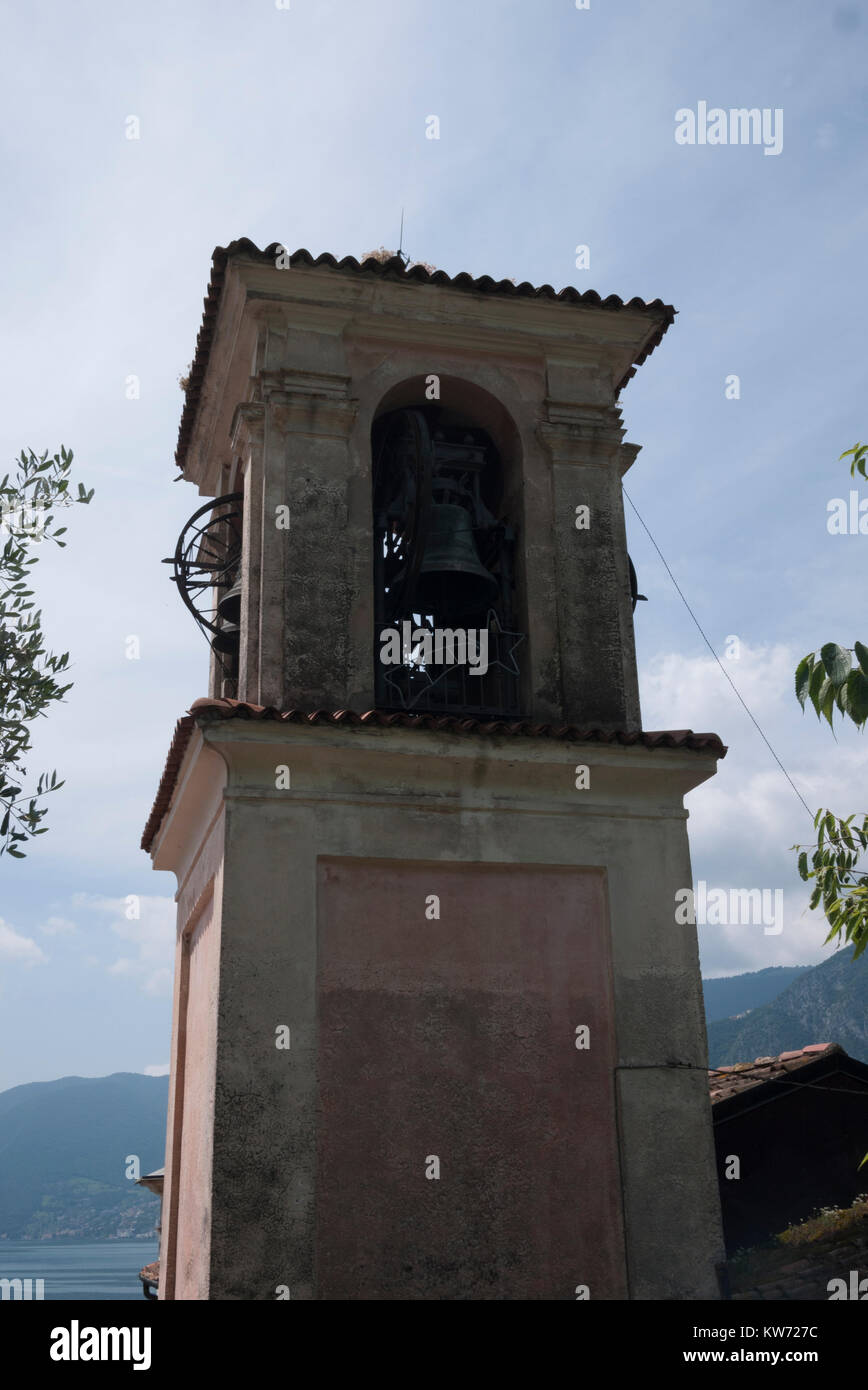 Village bell tower in Sale Marasino, Iseo, Italy - Stock Image
