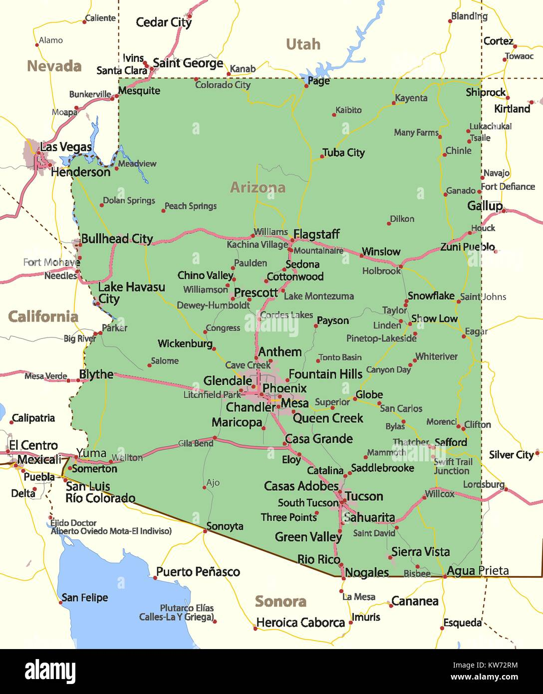 Map Of South Arizona.Map Of Arizona Shows Country Borders Urban Areas Place Names