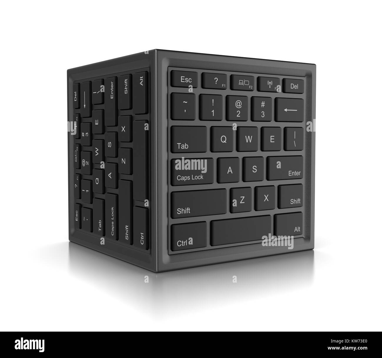 Cube Shape with Computer Keyboard on Faces 3D Illustration