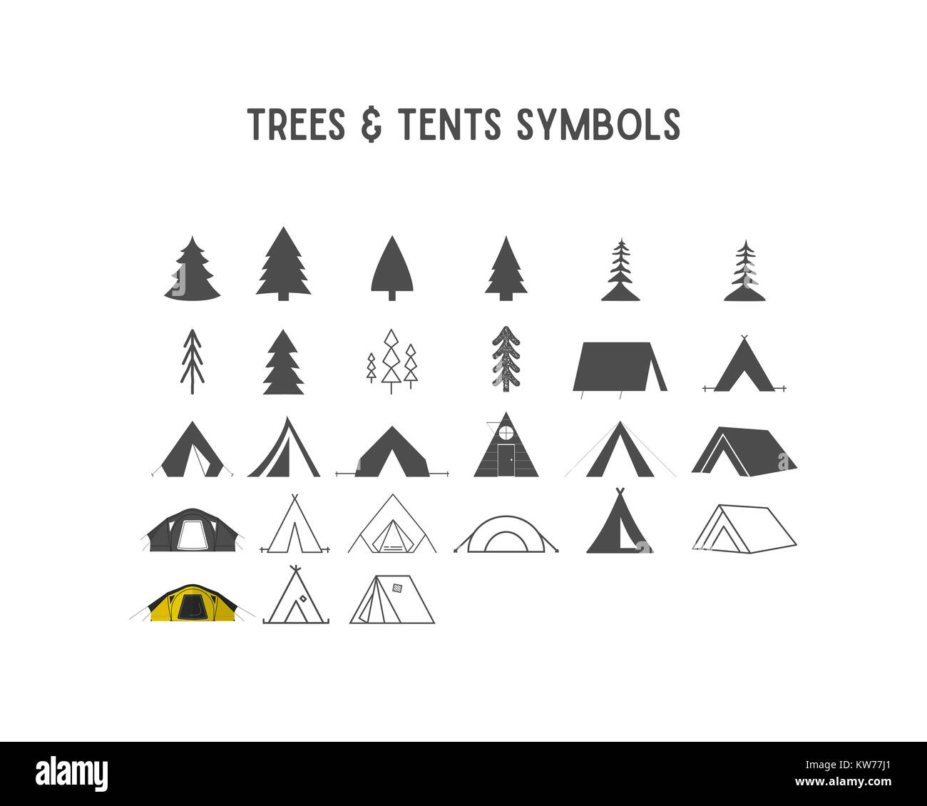 Trees and tent shapes and elements for creation your own outdoor labels, hipster retro patches, adventure vintage - Stock Image