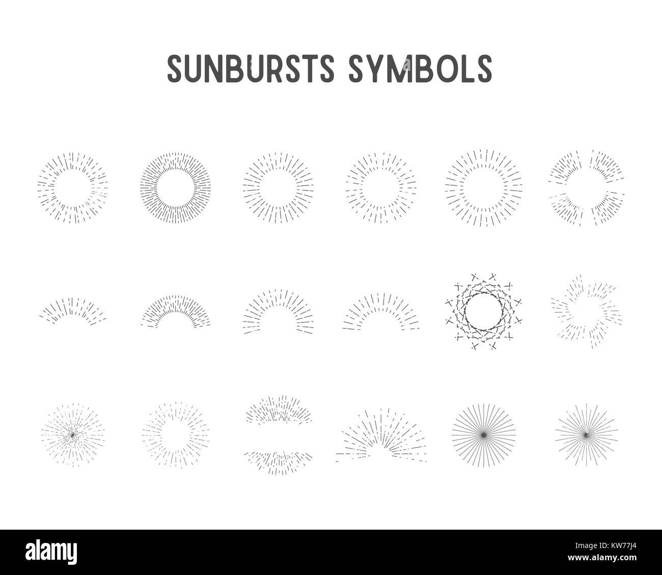 Set of vintage sunbursts, star lights. sillhouette, lineart design - Stock Image