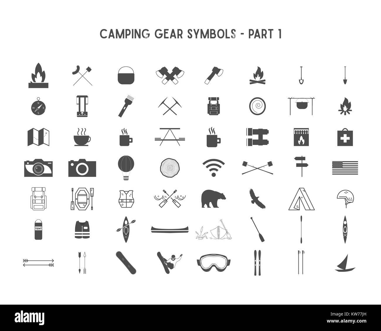 Set of silhouette icons and shapes with different outdoor gear, camping symbols for creating adventure logotypes, - Stock Image
