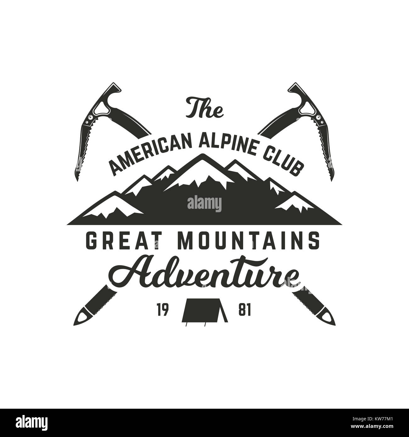 Vintage hand crafted label. Mountain expedition, outdoor adventure badge with climbing symbols and typography design. - Stock Image