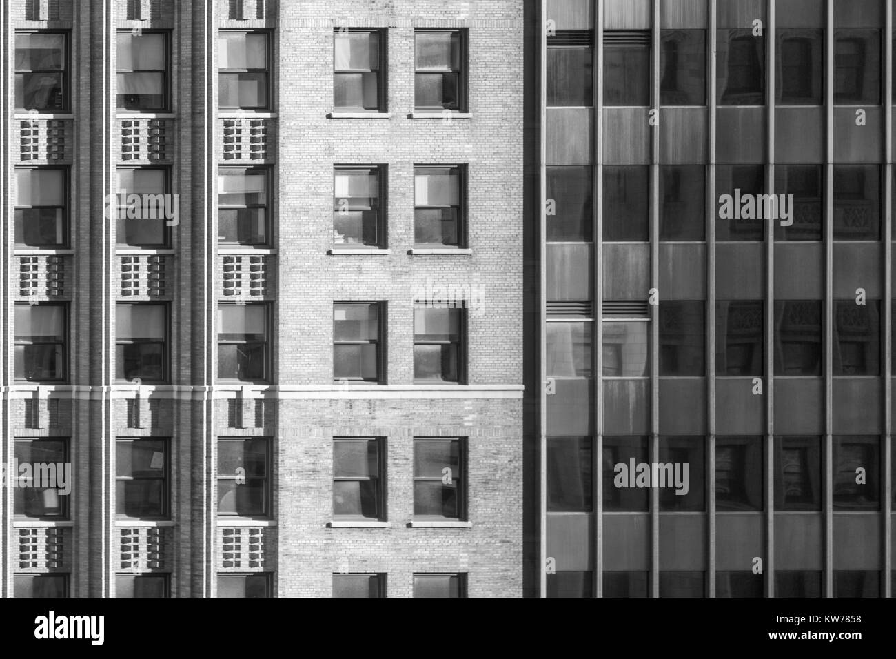 detail image of the facade of several buildings in downtown manhattan, - Stock Image