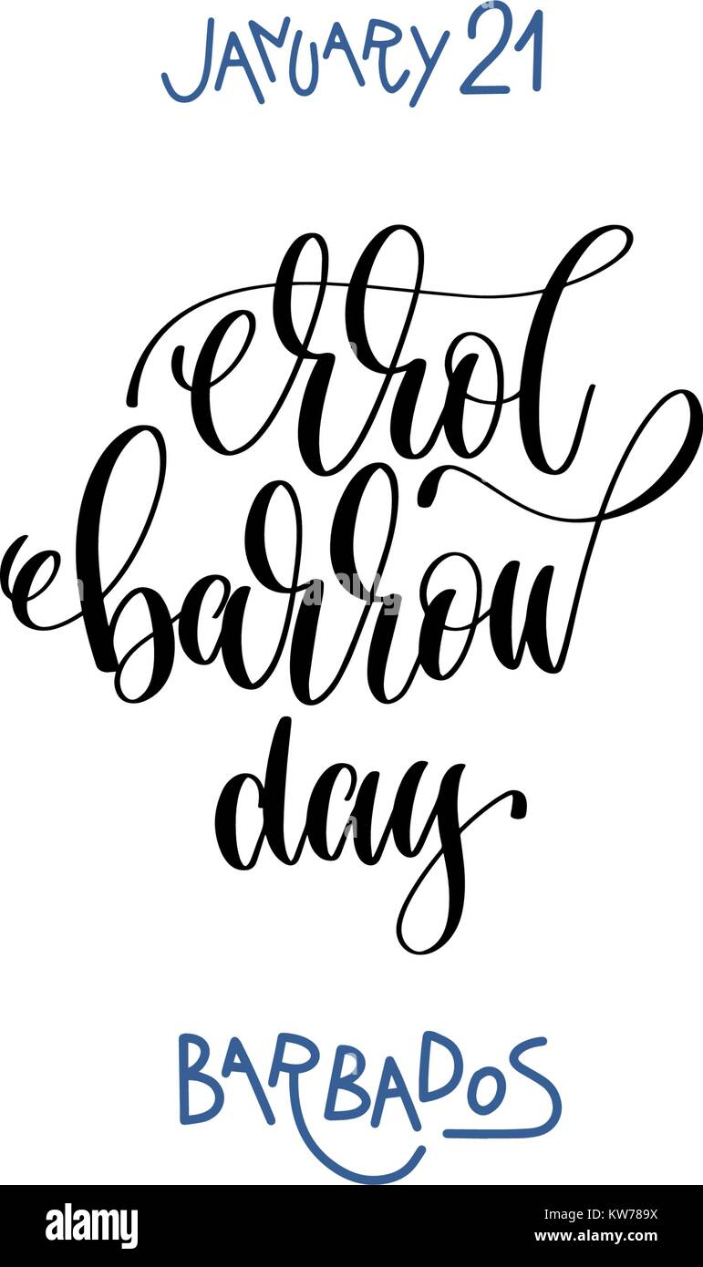 january 21 - Errol Barrow day - barbados, hand lettering - Stock Vector