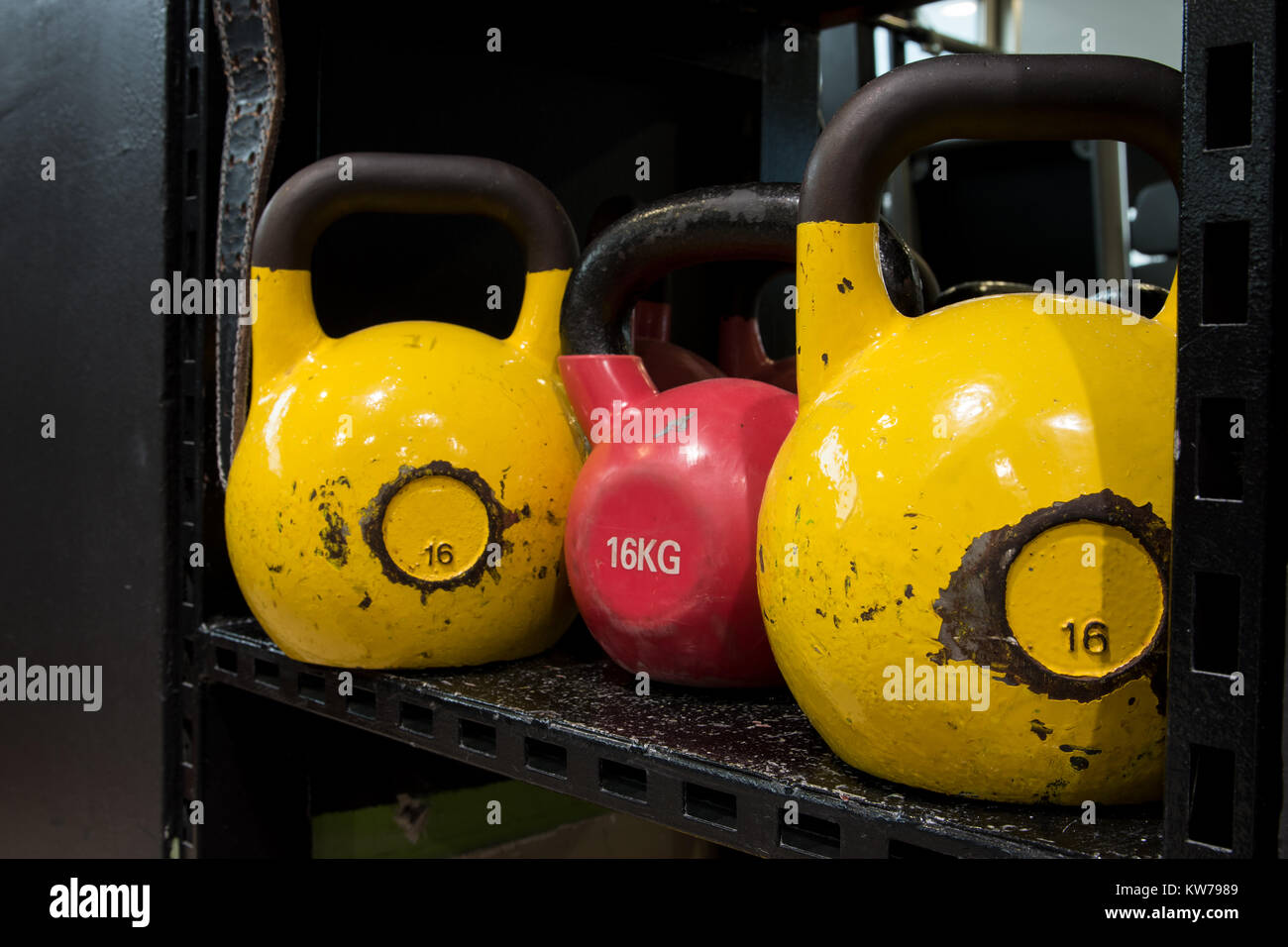 Set of colourful worn out kettlebells on a metal shelf in a gym. - Stock Image