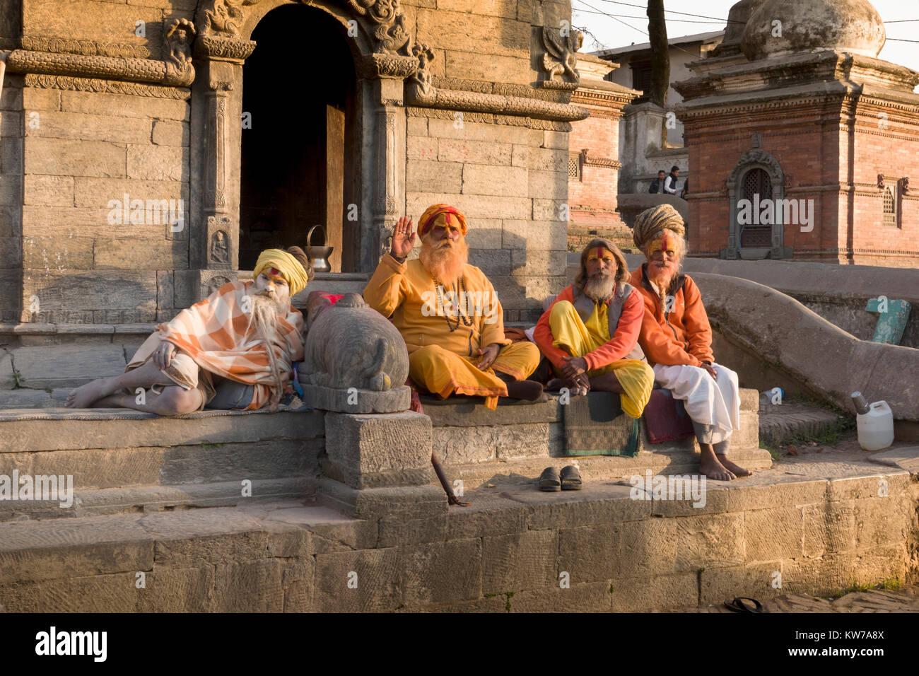 Sadhus holy men at Pashupatinath Temple in Kathmandu, Nepal - Stock Image