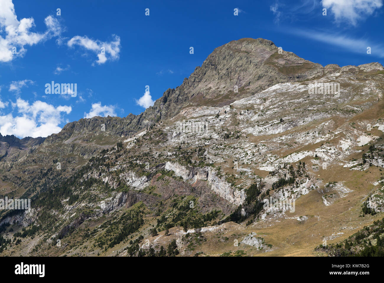 South Face of the Tuca de Salvaguardia in the Posets-Maladeta Nature Park, Pyrenees, Spain. - Stock Image